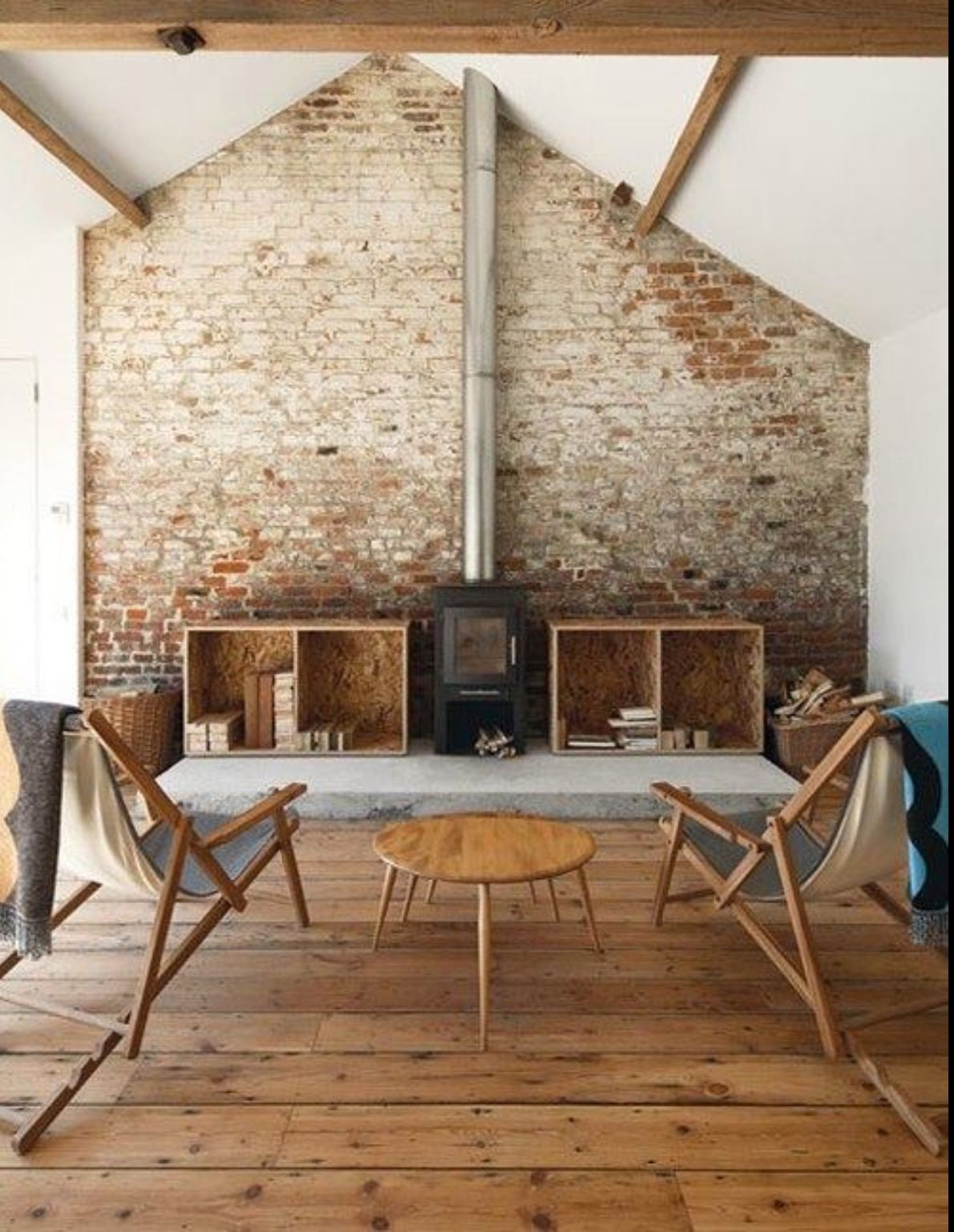 Rustic Living Room with character exposed brick focal ...