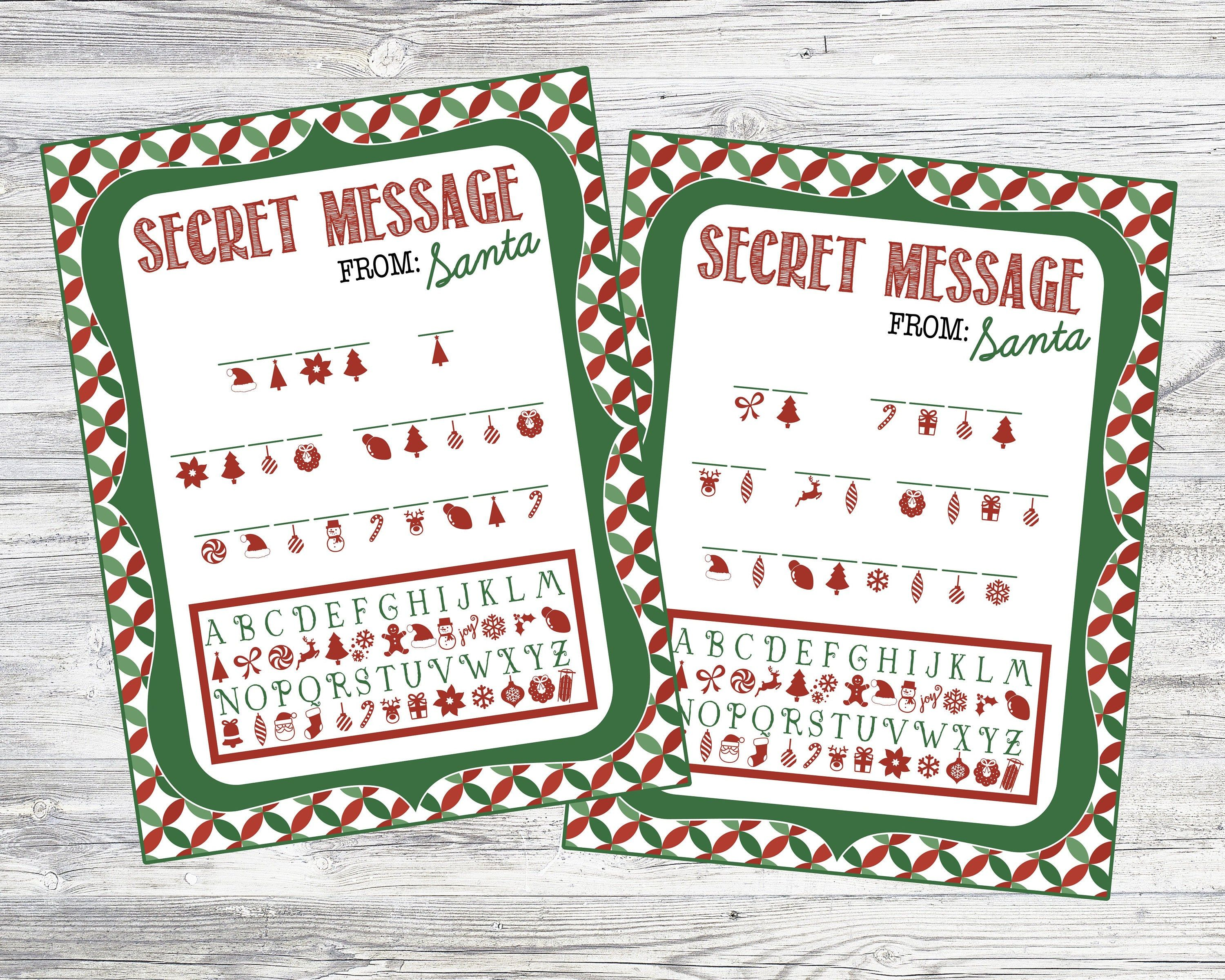 Printable Secret Message From Santa Code Sheets Instant