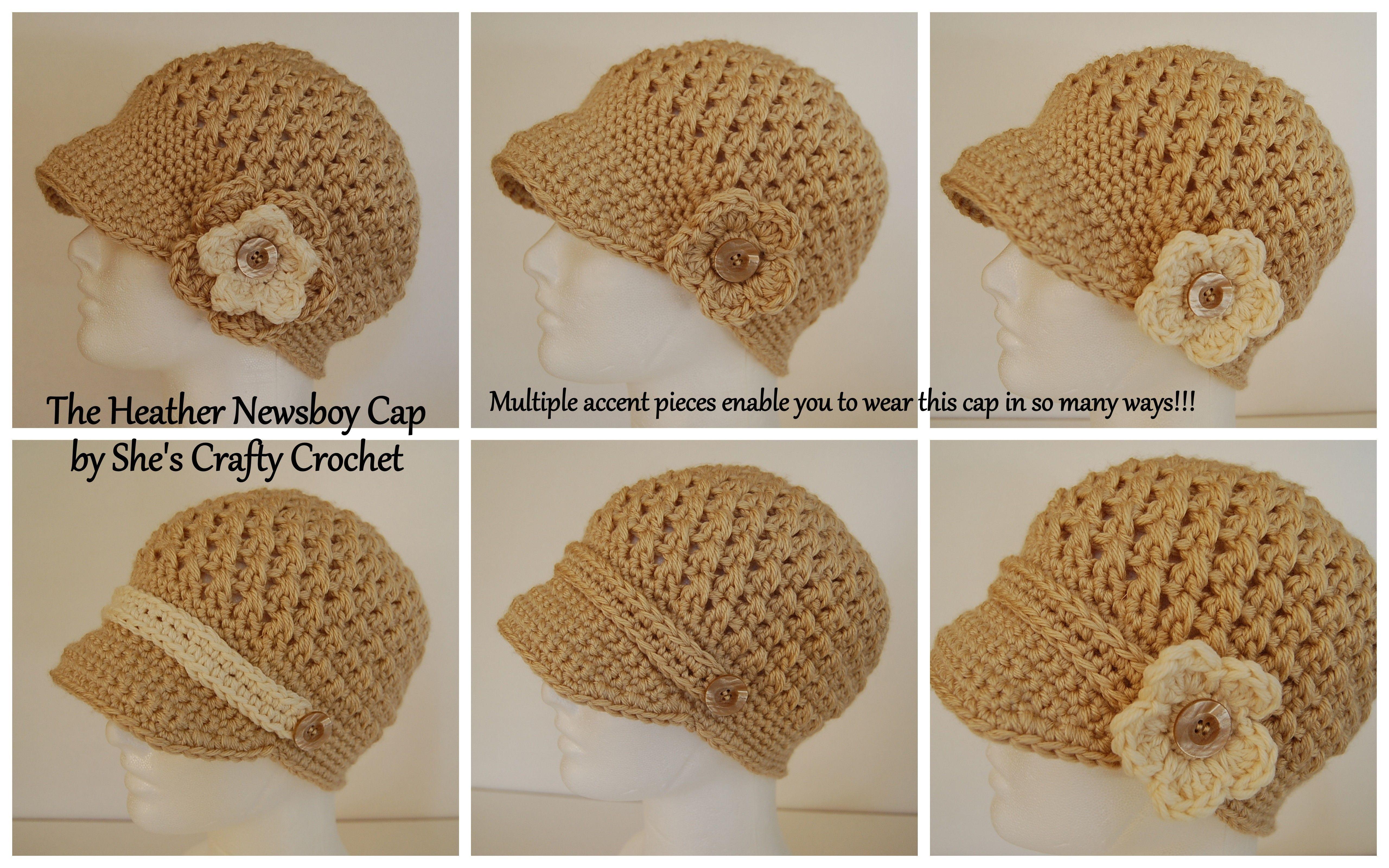 Crochet newsboy cap.  Fixed buttons with interchangeable bands and flowers!   www.facebook.com/shescraftycrochet