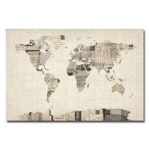 Amazon trademark fine art vintage postcard world map by michael amazon trademark fine art vintage postcard world map by michael tompsett canvas wall gumiabroncs