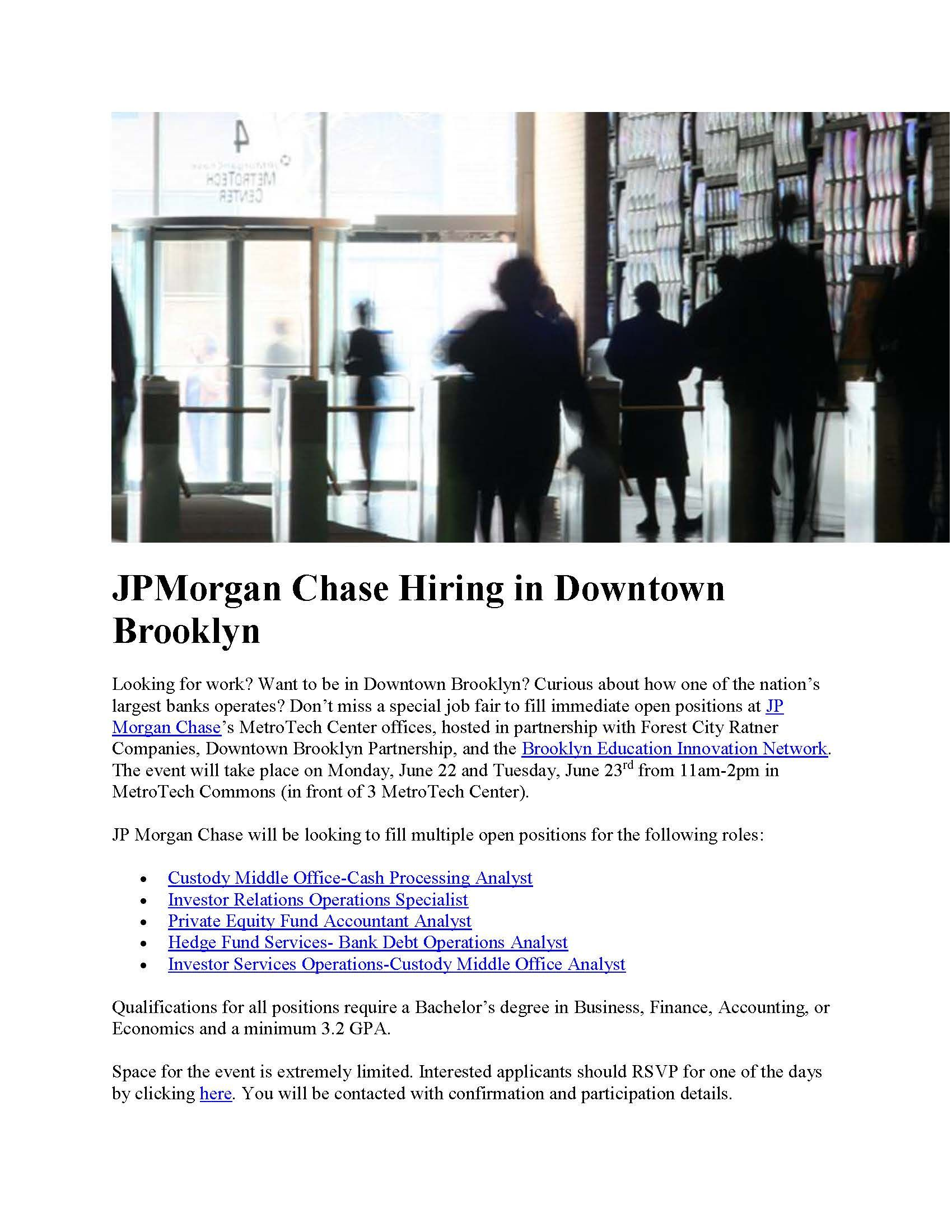 JP Morgan Chase positions in Downtown Brooklyn | Employment - Job