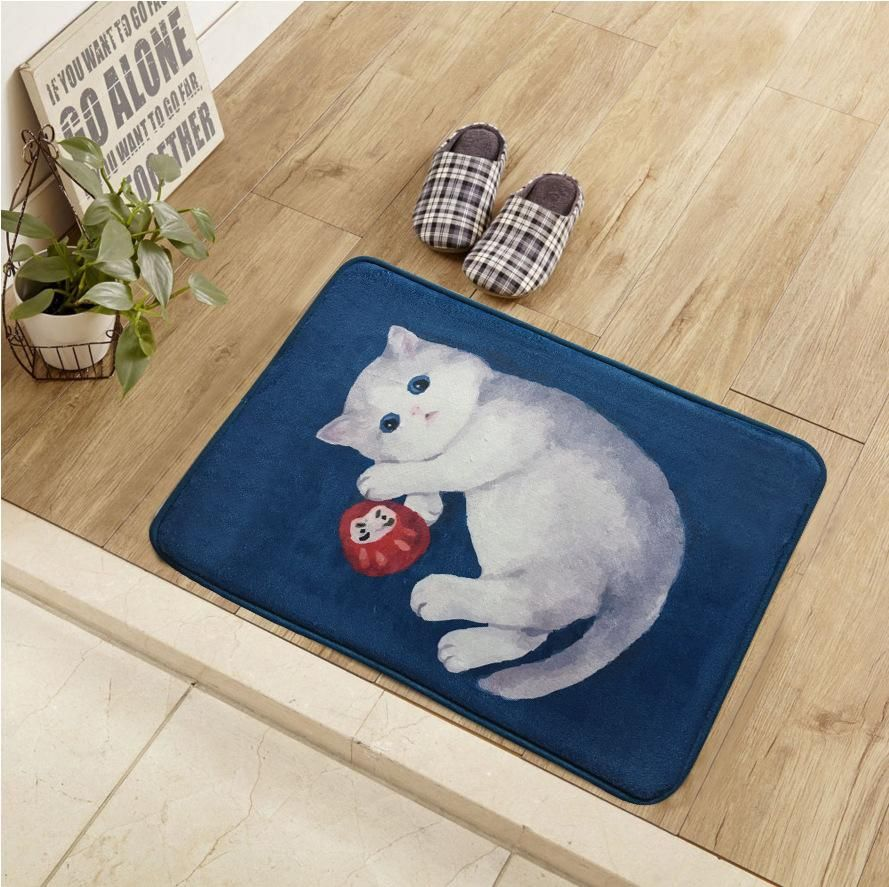 40*60cm Blue Cartoon Cats Floor/Door Mats Home Bedroom