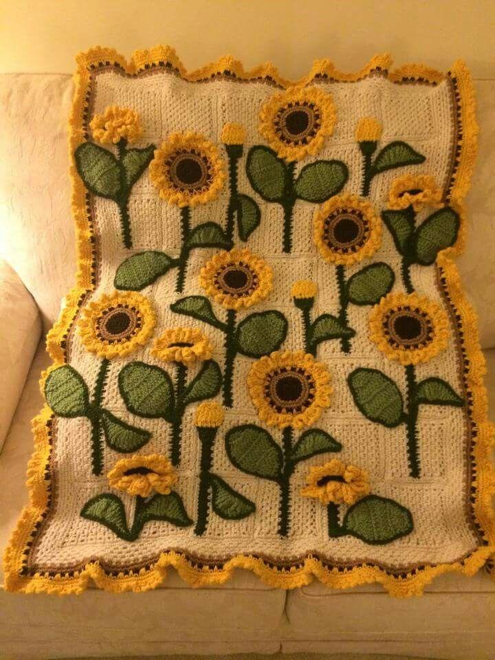 Sunflower Blanket Loveliness Crochet Sunflower Crochet Flower Blanket Granny Square Crochet Pattern