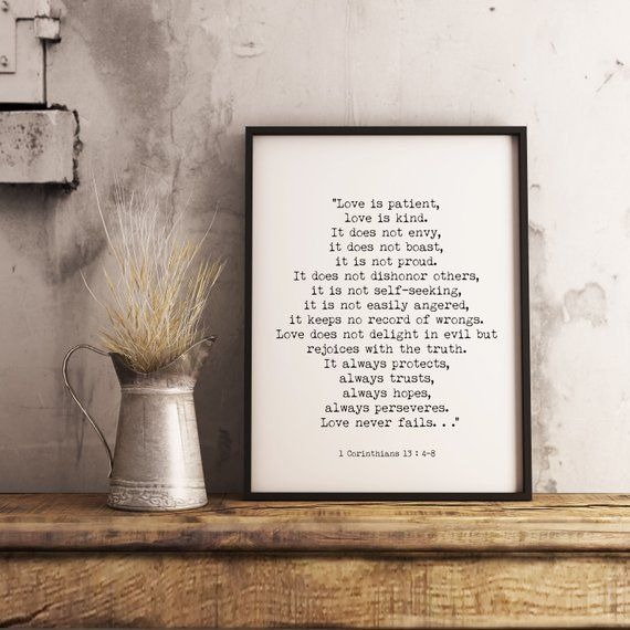 Framed Art 1 Corinthians 13 Bible Verse Quote Print Love Is Patient Wall Art With Frame In Black White Scripture Art Love Never Fails Quote Prints Wall Decor Printables Calligraphy Wall Decor