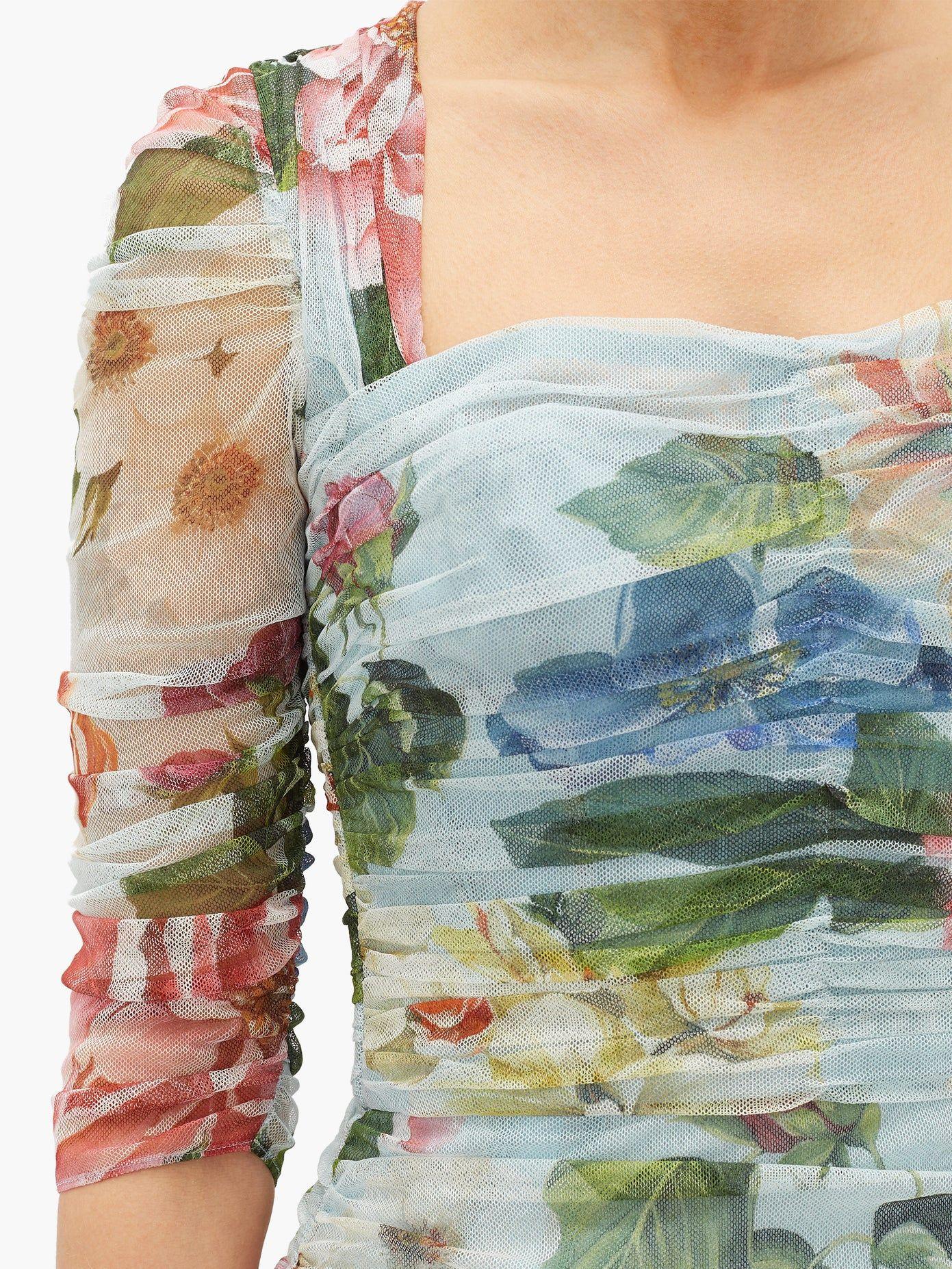 Ruched floralprint tulle dress Dolce & Gabbana