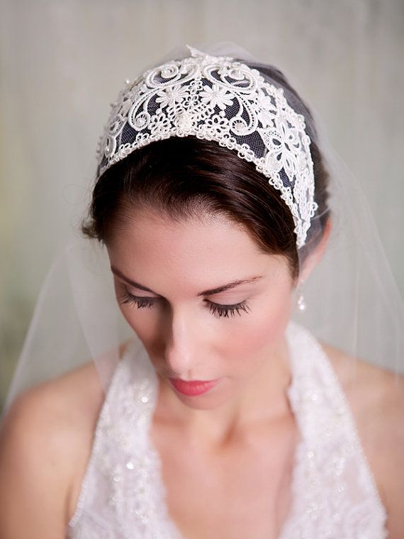 Juliette Cap Lace Bridal Cap Vintage Lace Headband Tiara Etsy Bridal Cap Wedding Veil Vintage Wedding Headpiece