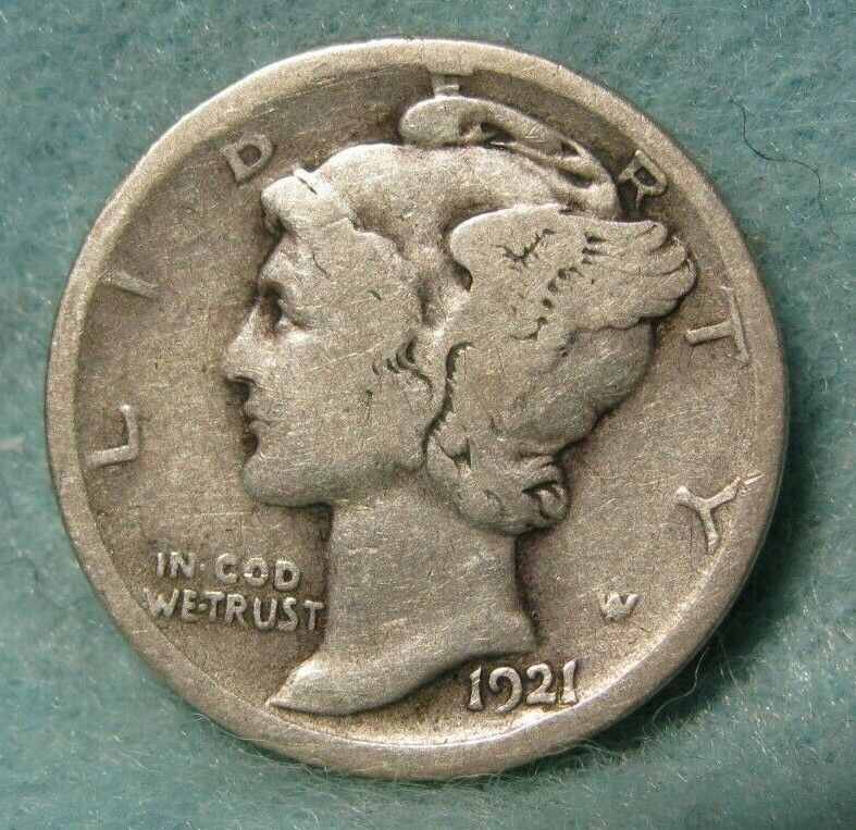 1921 MERCURY DIME LOW MINTAGE KEY DATE GOOD 6 AVAILABLE