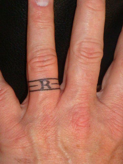 Wedding Band Tattoos For Men: Wedding Band Initial Tattoo