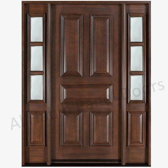 Five panel solid door with sides frame hpd504 solid wood for Front door frame designs