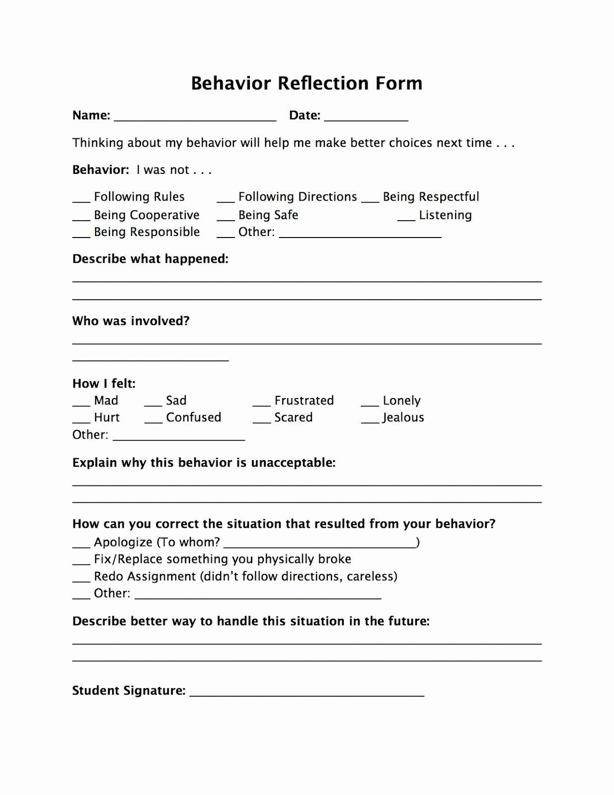 Appropriate Classroom Behavior Essay Unique Reflection Form Schule In 2020 Management