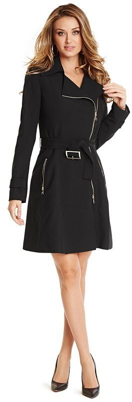 $195, Black Trenchcoat: GUESS by Marciano Zippered Trench Coat. Sold by GUESS by Marciano. Click for more info: https://lookastic.com/women/shop_items/307245/redirect