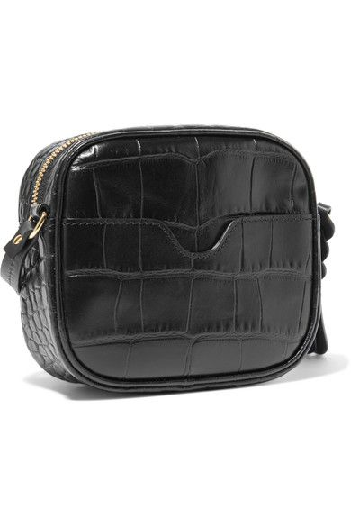 Croc-effect Leather Camera Bag - Black Alexander McQueen NzMCVxE5VV