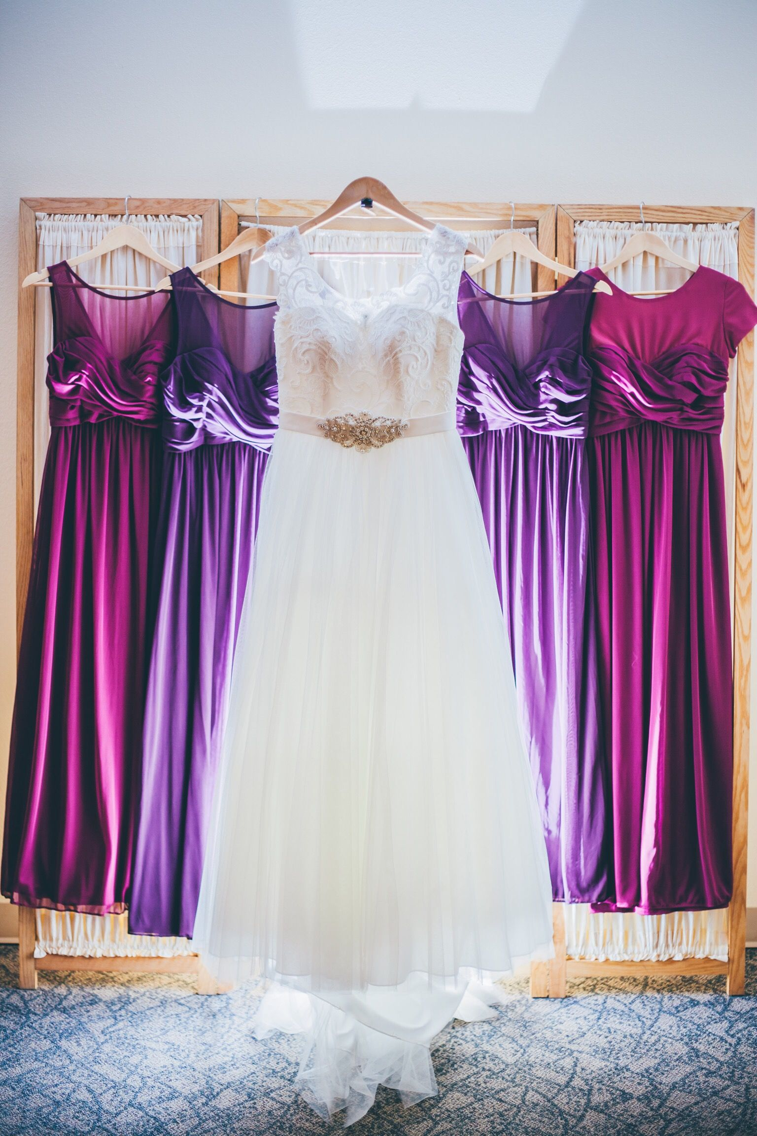 Plum and sangria colored bridesmaids dress and my ivory A line gown ...