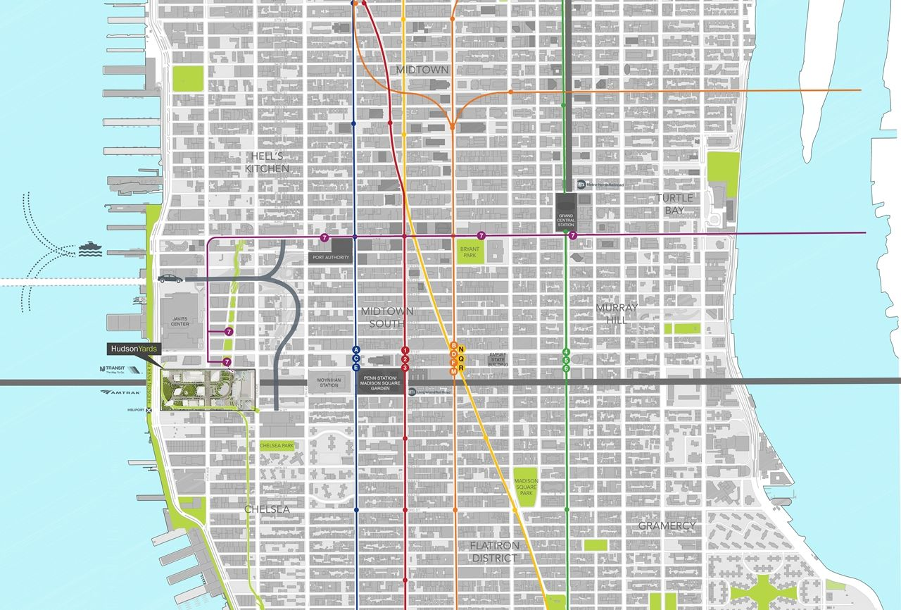 Subway Map Floating On A Ny Sidewalk New York Ny.Location Of Hudson Yards On The Map Of West Manhattan New York City