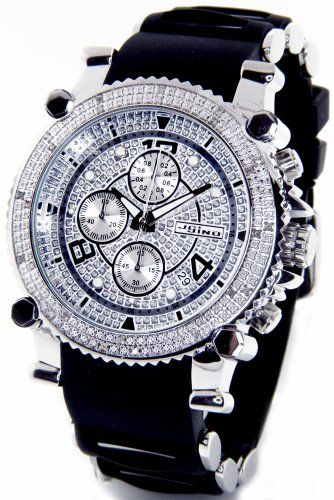 jojino real diamond watch by joe rodeo watch chronograph mens jojino real diamond watch by joe rodeo watch chronograph mens silver case black rubber band mj