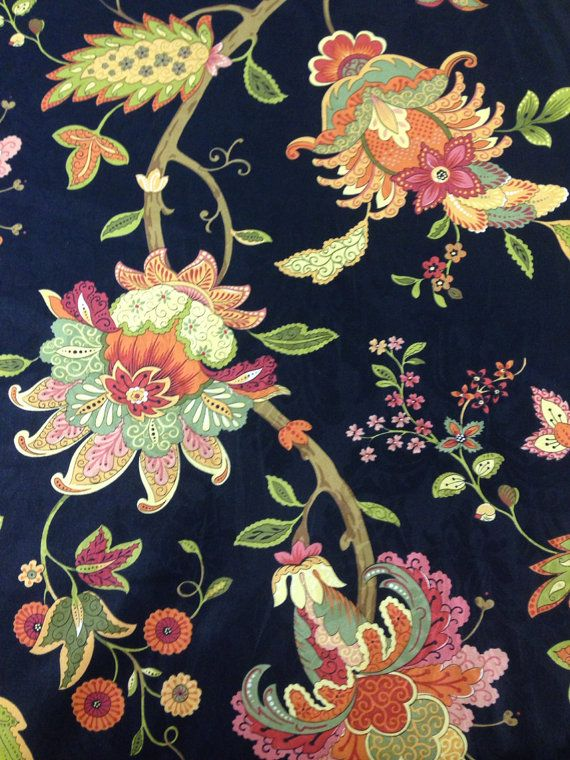 Vibrant Floral And Black Fabric Upholstery Fabric By The Etsy In 2020 Floral Upholstery Fabric Fabric Decor Floral Upholstery