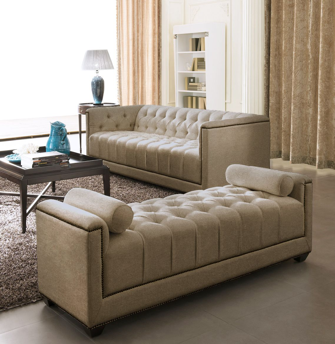 Fabric Sofa Set  Eden  Gold  Chester  Sofa set designs