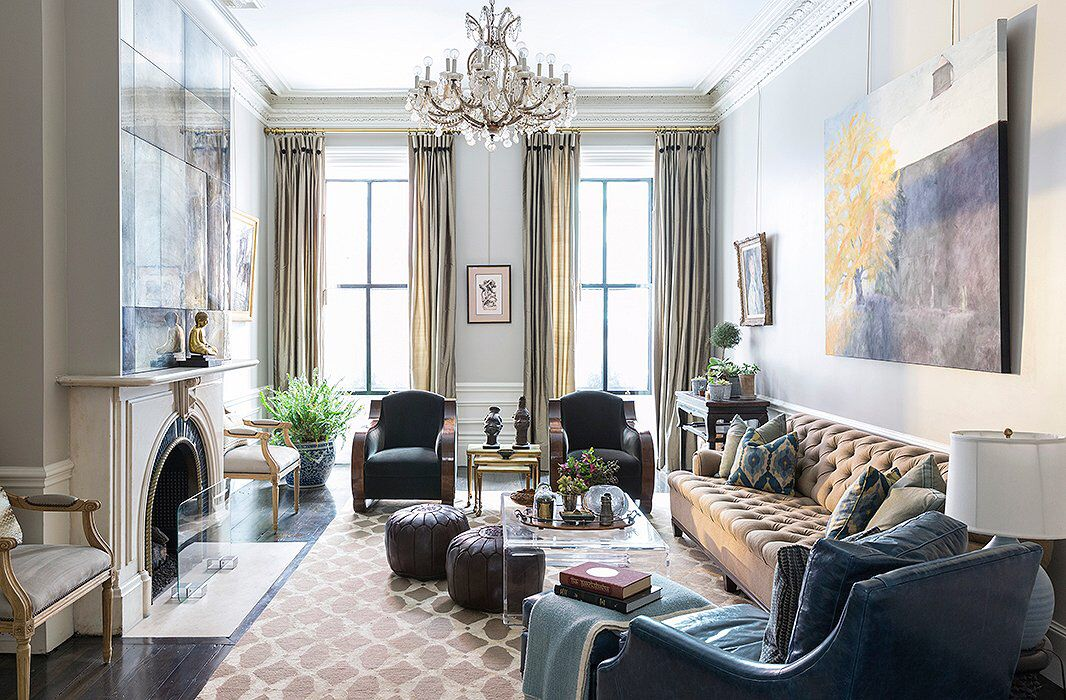 The Living Room With A Pair Of French Art Deco Chairs And A Long Tufted Sofa Is The Catchall Room And The Site Of Fam Brownstone Interiors Home Room Design