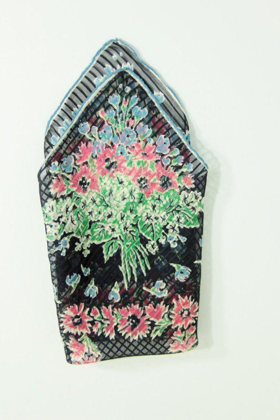 Vintage Sheer Black Stripe Handkerchief With by foundundertheeaves, $12.75