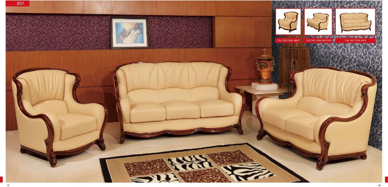Esf Modern 105 Beige Italian Leather Sofa Set Wood With Accents Classic Look Livingroomfurniture Club Furniture Bedroom Furniture Stores Leather Sofa Set