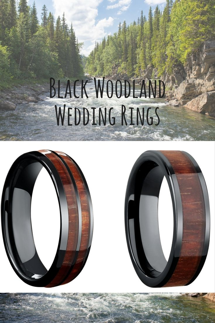 Mens black woodland wedding rings Wood wedding bands that are both