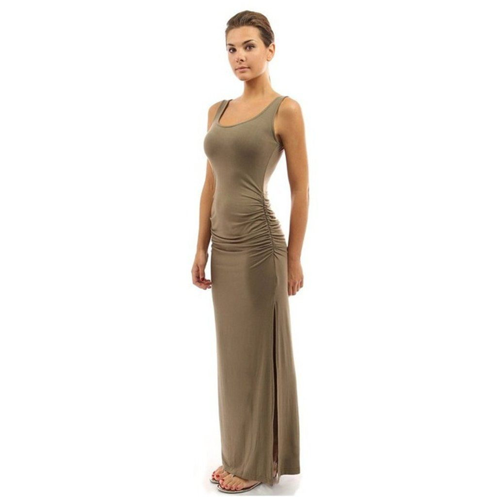 062abbf64f1 10 Colors Slim Long Dress Sexy Package Hip Dress Female Ruched High Slit Maxi  Dress