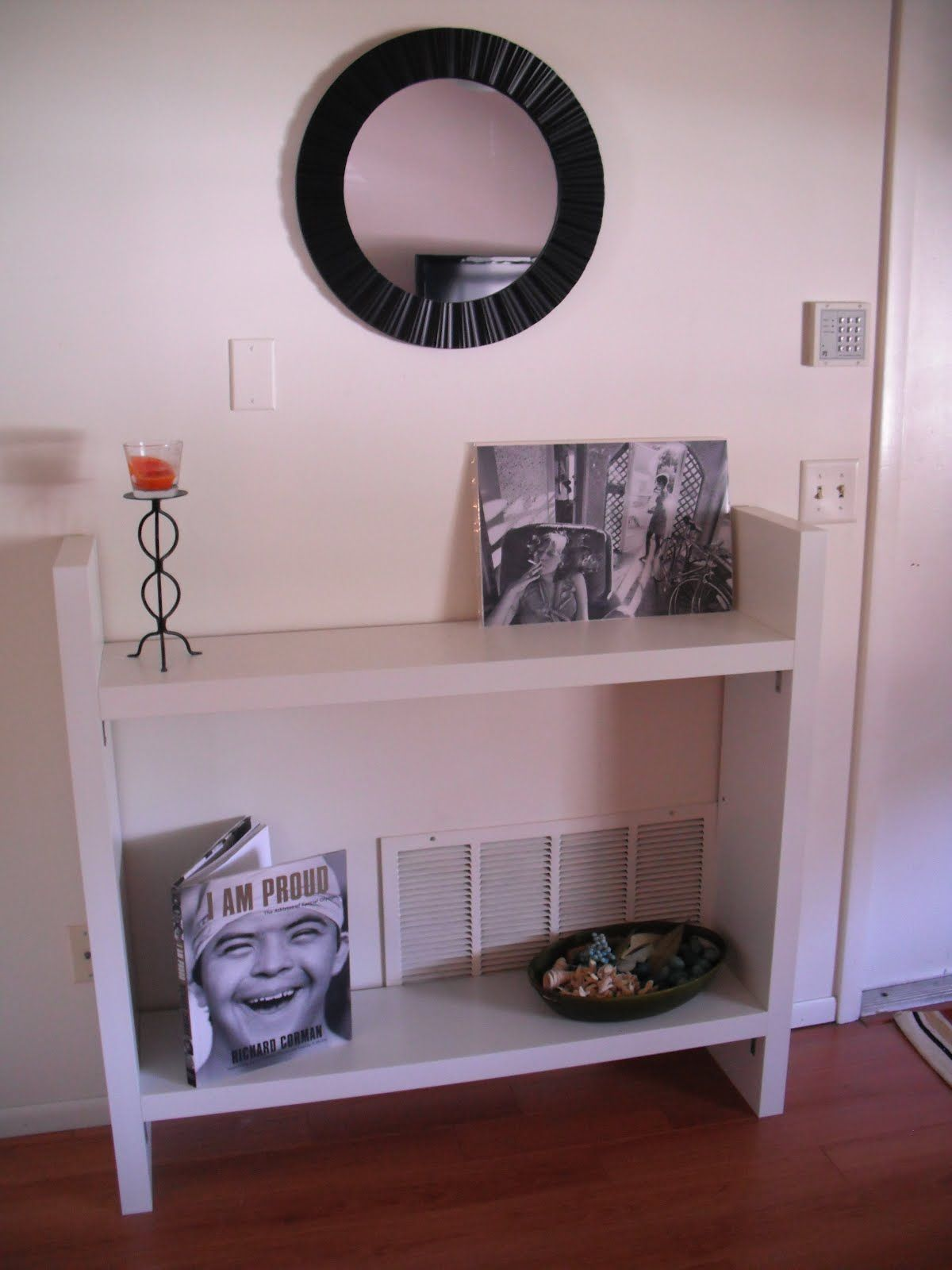 Perfect DIY: Entryway Table From Four Ikea Lack Shelves.