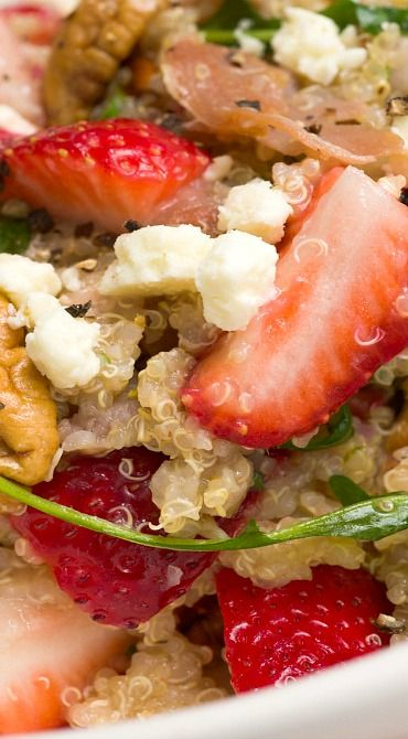 Quinoa Salad with Strawberries, Crispy Prosciutto, Toasted Pecans & Feta