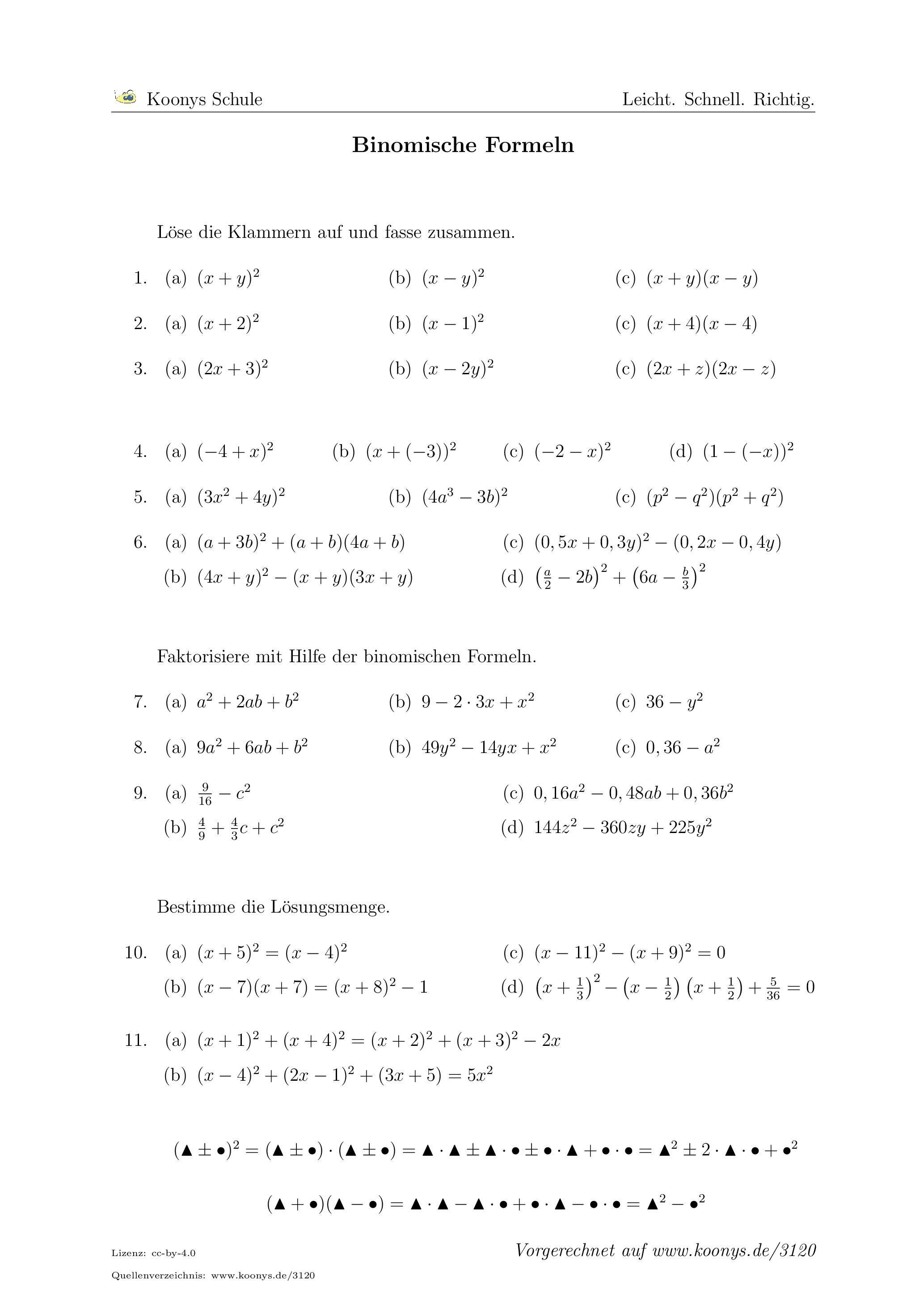 Binomische Formeln. Alle Aufgaben auf www.koonys.de/3120 ...
