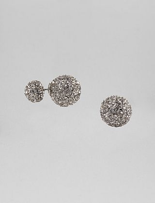 Dress Barn Crystal Ball Front And Back Stud Earrings