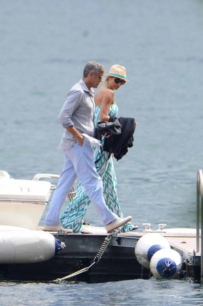 George Clooney and girlfriend Stacy Keibler are seen on a boat in Lake Como.