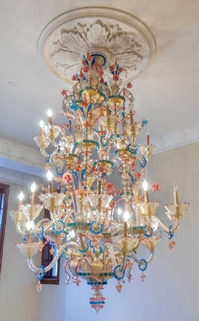 Fanciful Murano Blown Glass Venetian Chandelier Italian Art Glass Lighting Stained Glass Chandelier Art Glass Lighting Glass Blowing