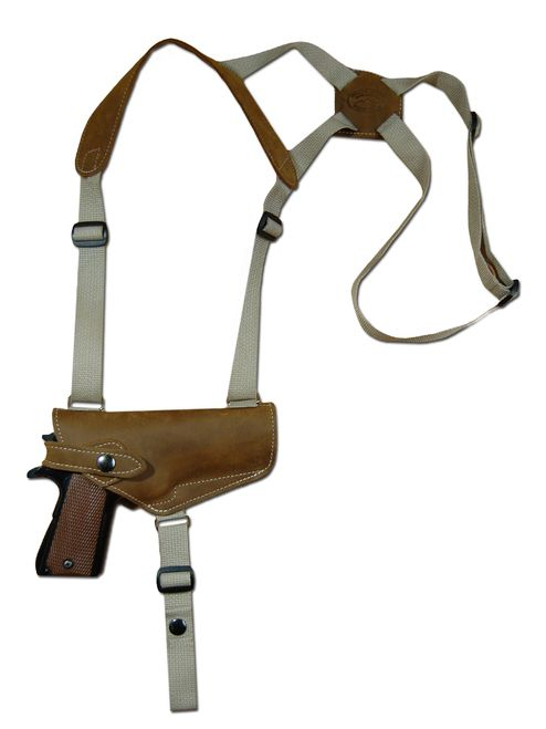 New Olive Drab Leather Horizontal Cross Harness Shoulder Gun Holster