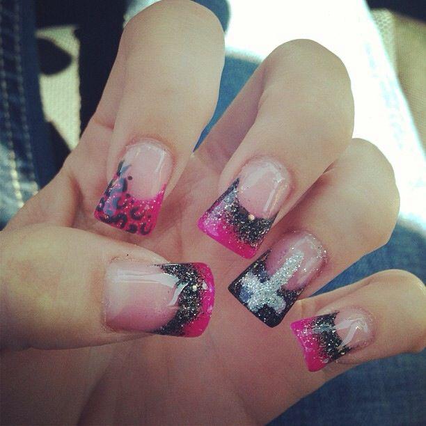 Pink black cross acrylic nails   Nails   Pinterest   Pink black ...