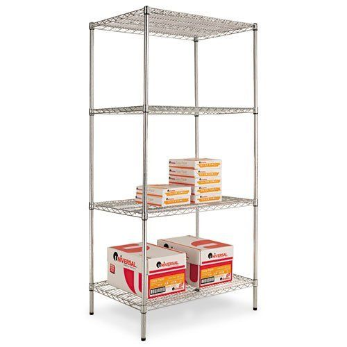 """NEW - Wire Shelving Starter Kit, 4 Shelves, 36w x 24d x 72h, Silver - SW503624SR by ALERA. $217.98. 748. Ideal storage solution for industrial and commercial use. Snap-together design assembles in minutes. Strong welded wire construction. Can be set up as a four-tier single rack or as two two-tier racks to meet specific needs. Open design allows air circulation and reduces dust build-up. 24"""" deep?Up to 1,000 lbs. per shelf (evenly distributed). Color: Silver; Overa..."""