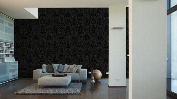 Vliestapete barock floral anthrazit tapete livingwalls for As creation tapeten gunstig