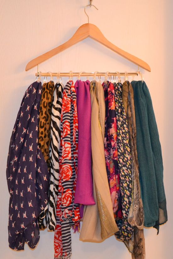 Wooden hangers + shower curtain rings = scarf storage--I\'ve seen ...