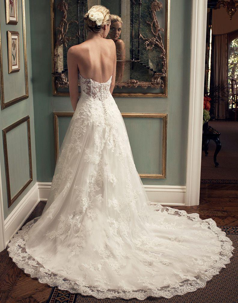 Casablanca bridal 2222 strapless drop waist lace aline