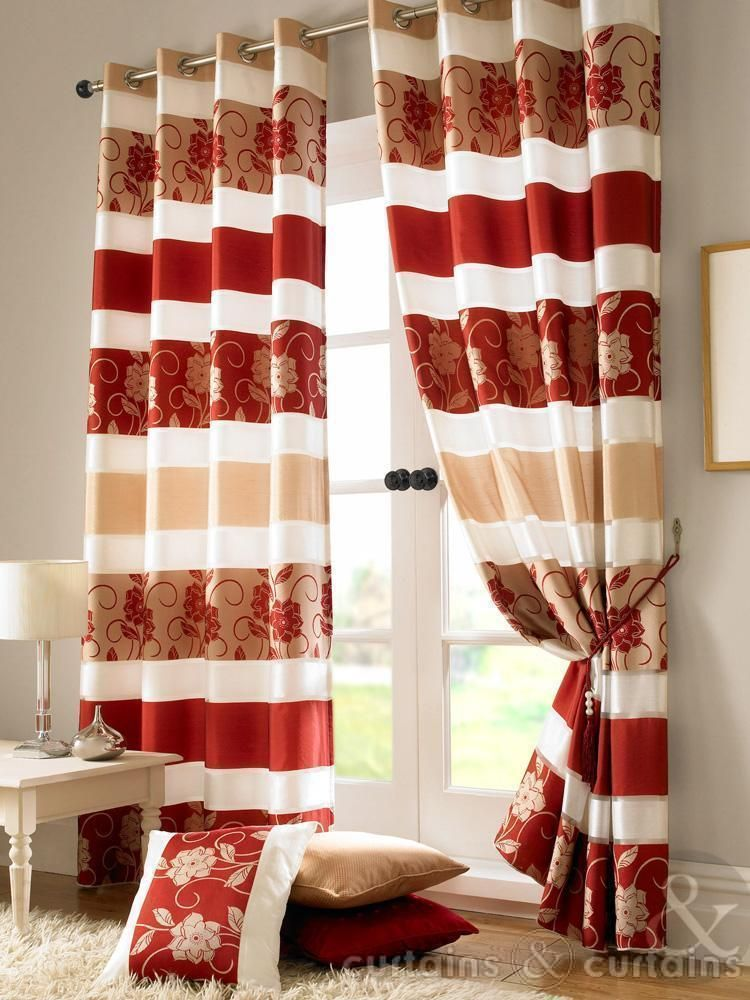 Jasmine Floral Red Gold Taffeta Eyelet Lined Curtain