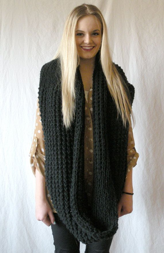fee84ff0da8 Long Oversized Chunky Snood Knit Infinity Scarf Black Cowl ...