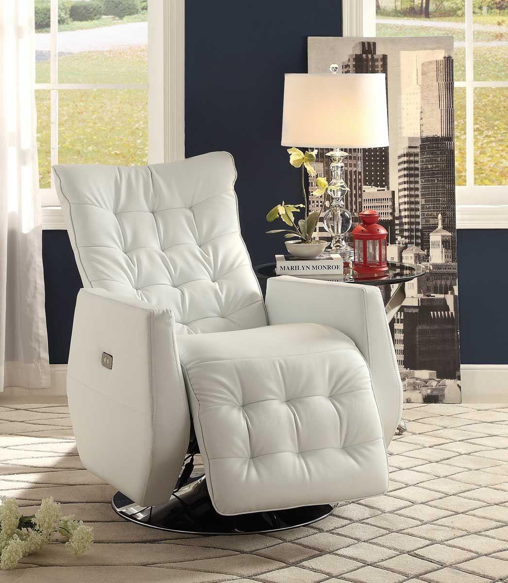 Homelegance Nadra Swivel Power Reclining Chair White Bi Cast