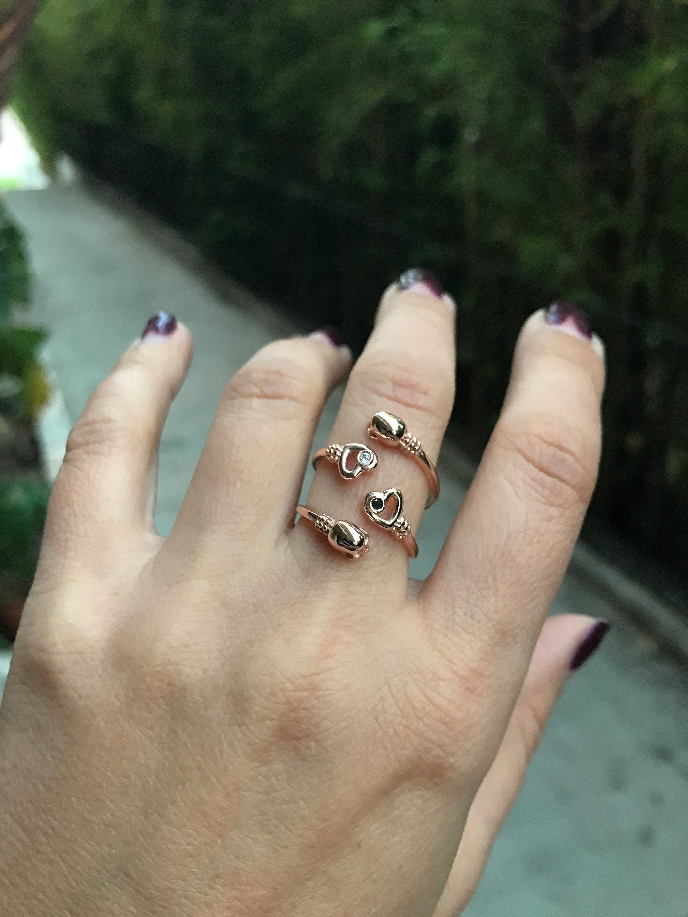 """""""Rose Gold Skull Ring Diamond Heart Ring Eternal Love Goth Ring Diamond Stacking Ring Black Diamond Heart Ring Skull Jewelry Our new stacking ring. \""""Eternal Love\"""" is made in solid 14k Rose Gold featuring a delicate skull facing a beautiful heart. The heart has a genuine White (or Black) Diamond G-H, SI-1, 0.015ct (1.6mm) bezel set bringing live to this delicate ring. Elegant ring making a bold statement. Please, select your finger size at check out. If you dont see your size send us a message"""