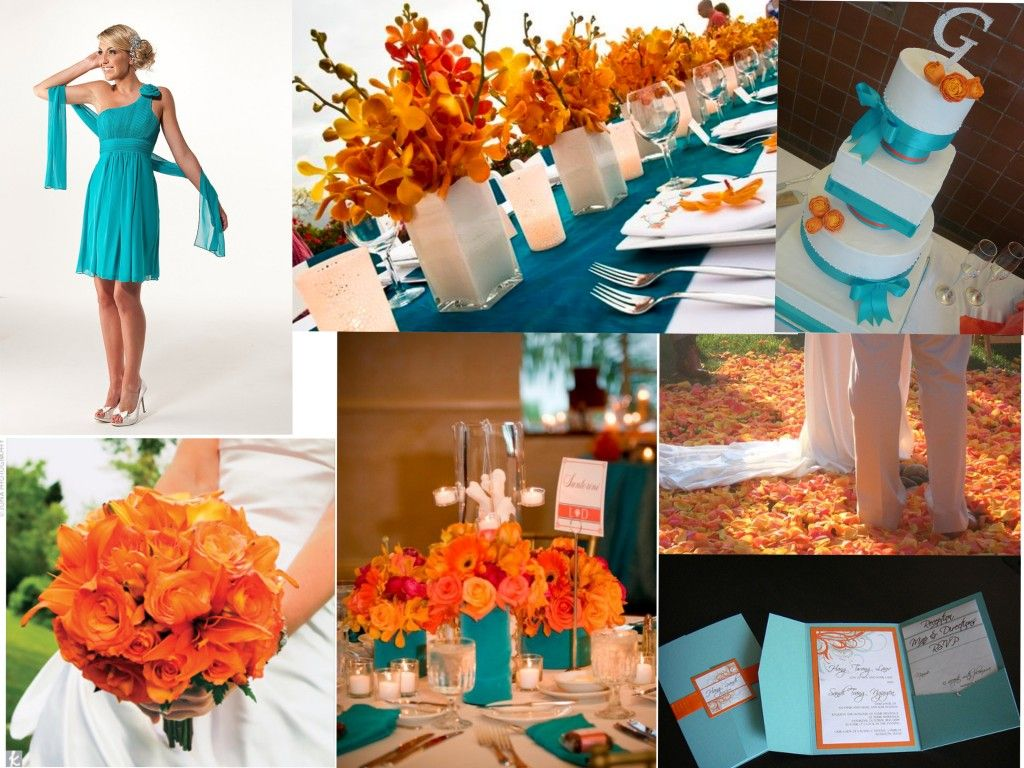 ideas for beach wedding party favors%0A turquoise and tangerine wedding