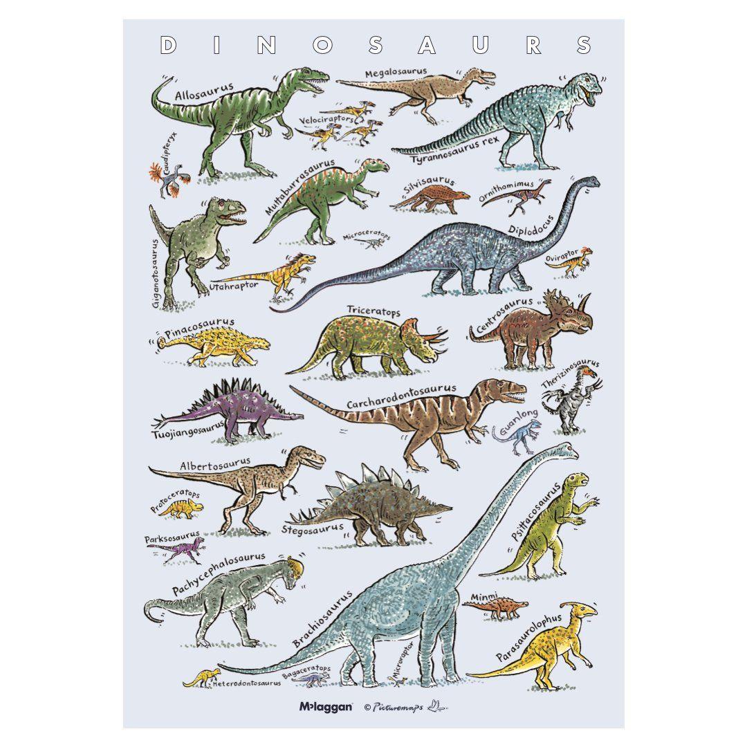 Picturemaps A3 Dinosaurs Print