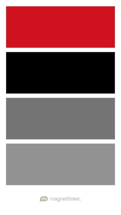 Classic Red, Black, Charcoal, and Classic Gray Wedding Color Palette -  custom color