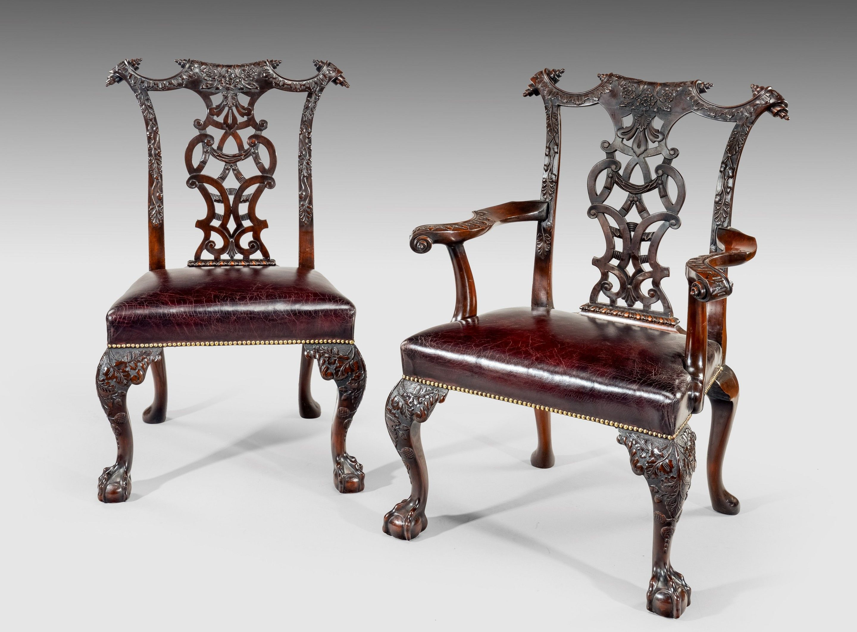A fine set of 12 late victorian mahogany chippendale style