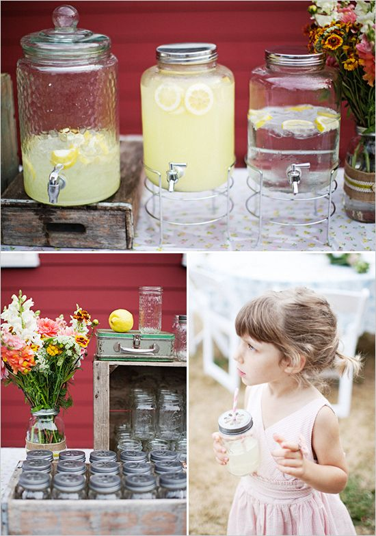 lemonade stand. I LOVE this for a spring wedding! this would work for sweet tea too.