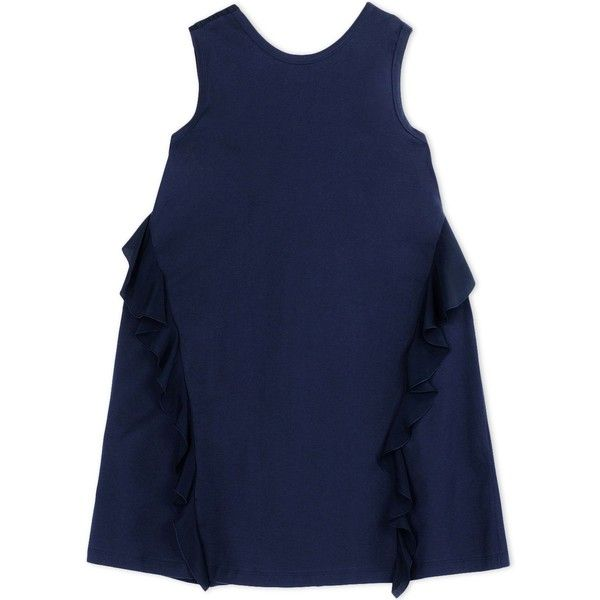N° 21 Short Dress (£258) ❤ liked on Polyvore featuring dresses, dark blue, sleeveless ruffle dress, frilly dress, ruffle dress, ruffle mini dress and no sleeve dress