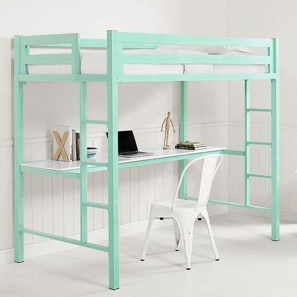 Twin Metal Loft Bed with Workstation - Mint | slaapkamer | Pinterest ...