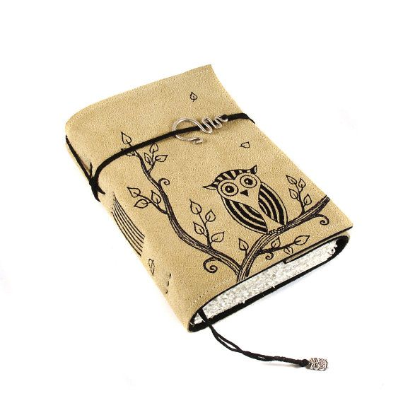 Striped Owl Leather Journal Notebook Diary by Kreativlink